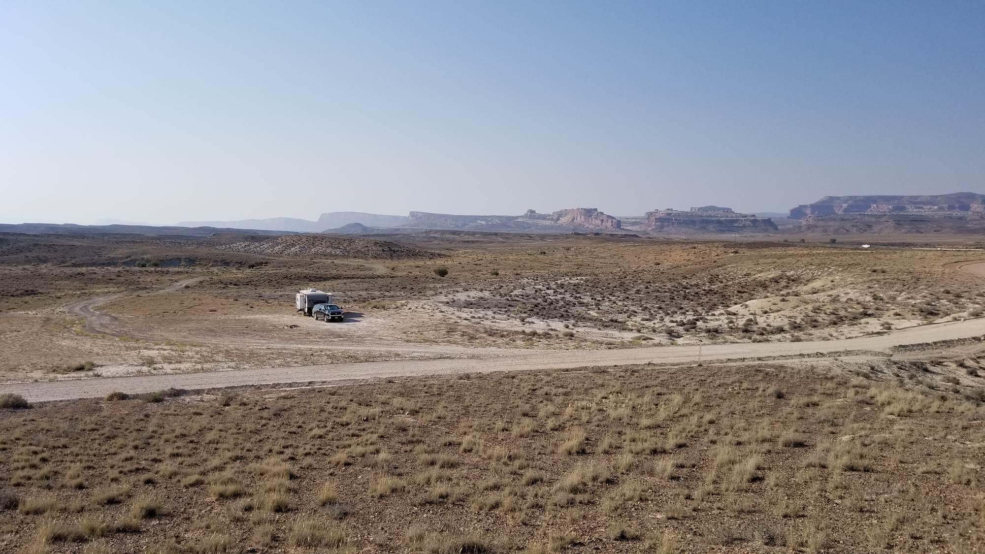 Boondocking on state land along Klondike Bluffs Road, north of Moab, Utah