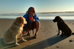 With the dogs at Oregon's Beachside State Park