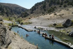 Soaking in the hot pools at 12 Mile Hot Springs, near Wells, Nevada.